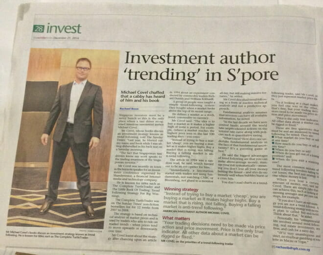the straits times and trend following and covel